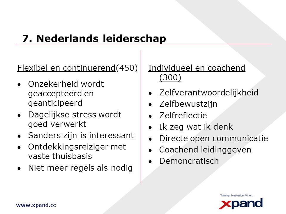 www.xpand.cc 7. Nederlands leiderschap Flexibel en continuerend(450) Onzekerheid wordt geaccepteerd en geanticipeerd Dagelijkse stress wordt goed ve
