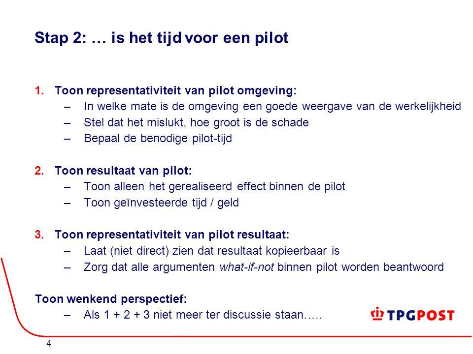 4 Stap 2: … is het tijd voor een pilot 1.Toon representativiteit van pilot omgeving: –In welke mate is de omgeving een goede weergave van de werkelijkheid –Stel dat het mislukt, hoe groot is de schade –Bepaal de benodige pilot-tijd 2.Toon resultaat van pilot: –Toon alleen het gerealiseerd effect binnen de pilot –Toon geïnvesteerde tijd / geld 3.Toon representativiteit van pilot resultaat: –Laat (niet direct) zien dat resultaat kopieerbaar is –Zorg dat alle argumenten what-if-not binnen pilot worden beantwoord Toon wenkend perspectief: –Als 1 + 2 + 3 niet meer ter discussie staan…..
