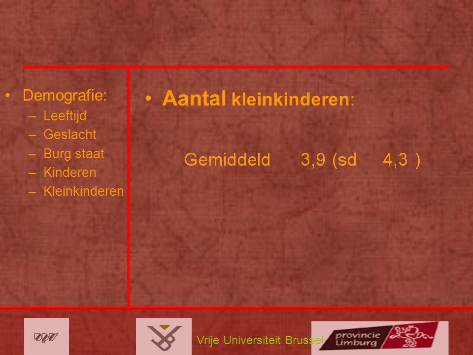 Vrije Universiteit Brussel Demografie: –Leeftijd –Geslacht –Burg staat –Kinderen –Kleinkinderen Aantal kleinkinderen: