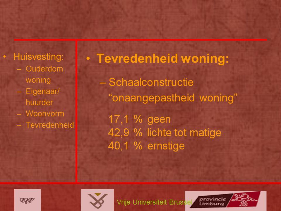 Vrije Universiteit Brussel Huisvesting: –Ouderdom woning –Eigenaar/ huurder –Woonvorm –Tevredenheid Tevredenheid woning: –Schaalconstructie onaangepastheid woning