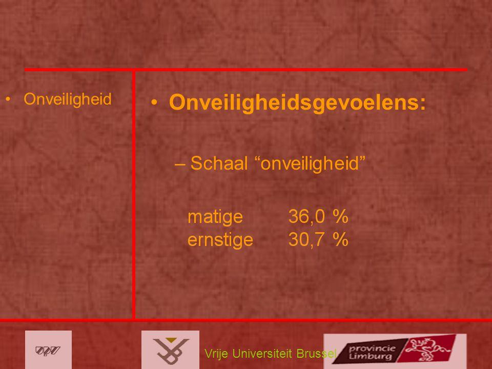 Vrije Universiteit Brussel Onveiligheid Onveiligheidsgevoelens: –Schaal onveiligheid