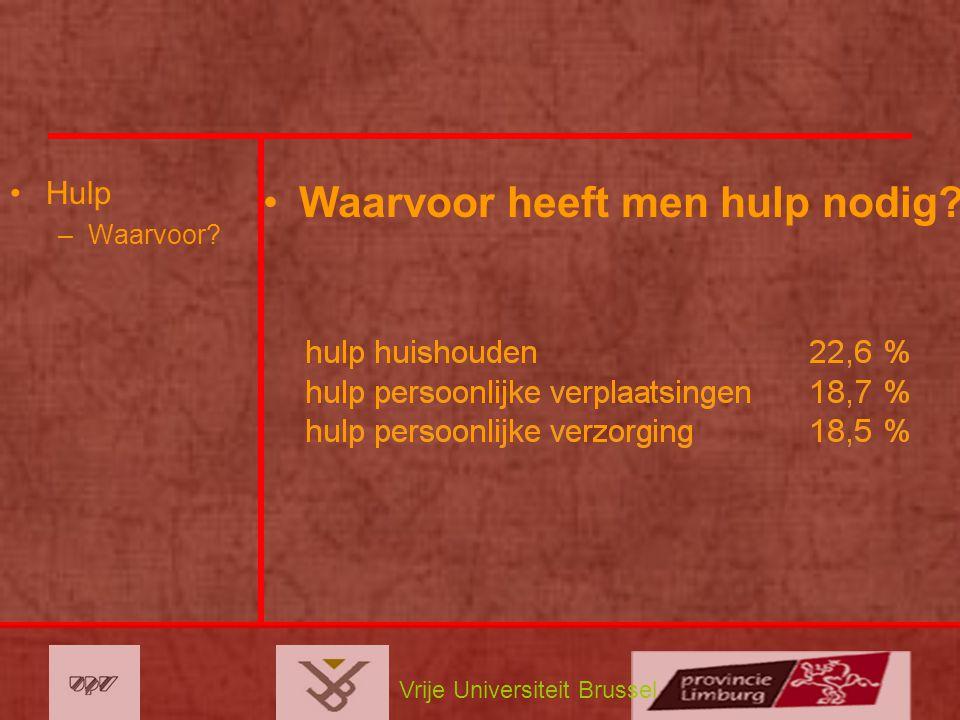 Vrije Universiteit Brussel Hulp –Waarvoor? Waarvoor heeft men hulp nodig?