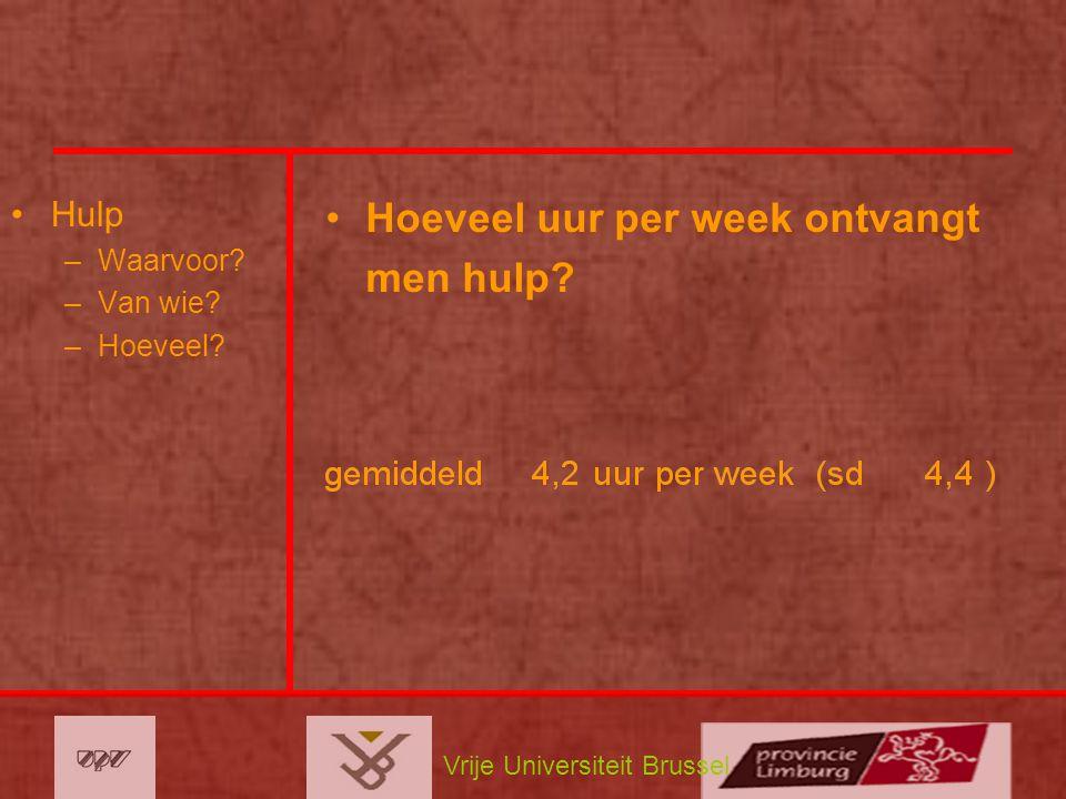 Vrije Universiteit Brussel Hulp –Waarvoor? –Van wie? –Hoeveel? Hoeveel uur per week ontvangt men hulp?