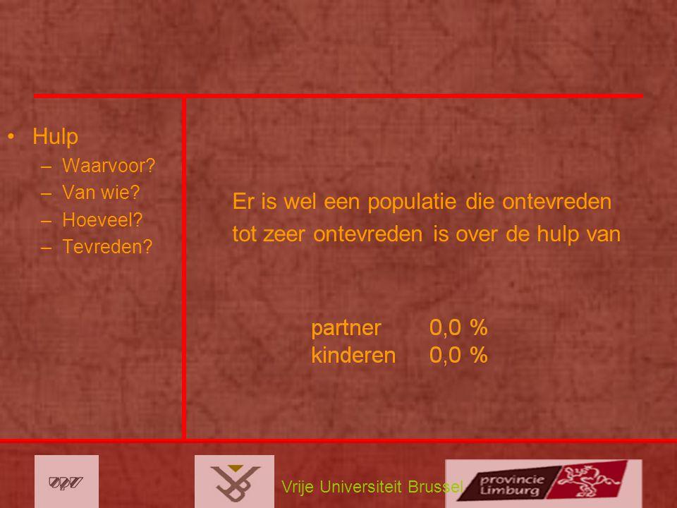 Vrije Universiteit Brussel Hulp –Waarvoor? –Van wie? –Hoeveel? –Tevreden? Er is wel een populatie die ontevreden tot zeer ontevreden is over de hulp v