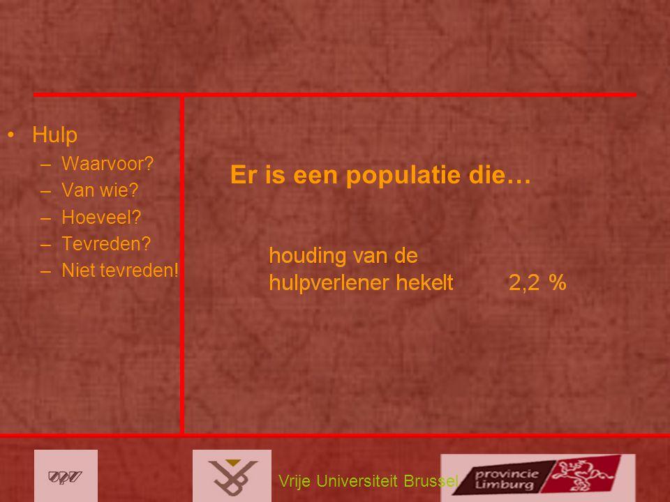 Vrije Universiteit Brussel Hulp –Waarvoor? –Van wie? –Hoeveel? –Tevreden? –Niet tevreden! Er is een populatie die…