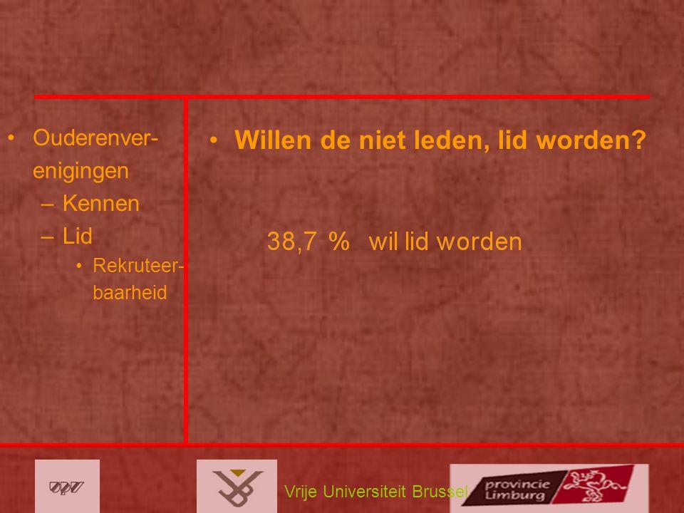 Vrije Universiteit Brussel Ouderenver- enigingen –Kennen –Lid Rekruteer- baarheid Willen de niet leden, lid worden?
