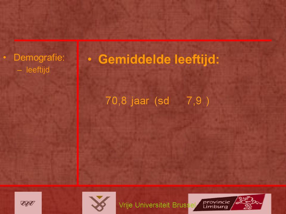 Vrije Universiteit Brussel Demografie: –leeftijd Gemiddelde leeftijd: