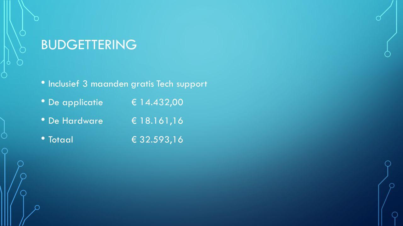 BUDGETTERING Inclusief 3 maanden gratis Tech support De applicatie € 14.432,00 De Hardware € 18.161,16 Totaal € 32.593,16