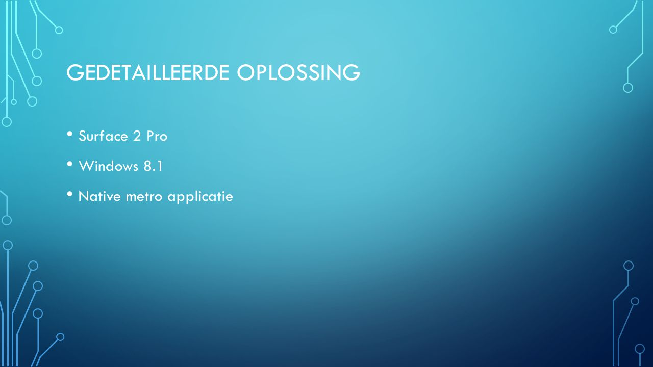 GEDETAILLEERDE OPLOSSING Surface 2 Pro Windows 8.1 Native metro applicatie