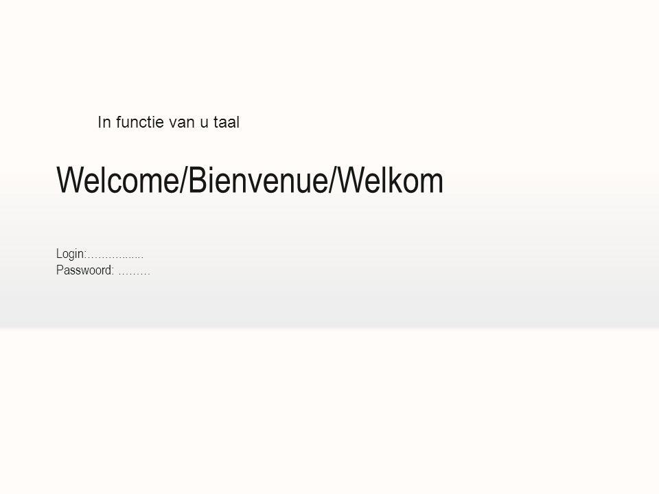 Welcome/Bienvenue/Welkom Login:….............. Passwoord: ……… In functie van u taal