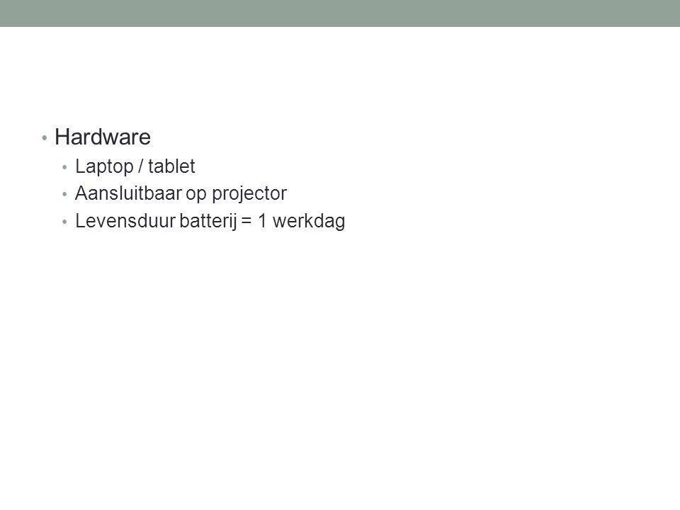 Hardware Laptop / tablet Aansluitbaar op projector Levensduur batterij = 1 werkdag