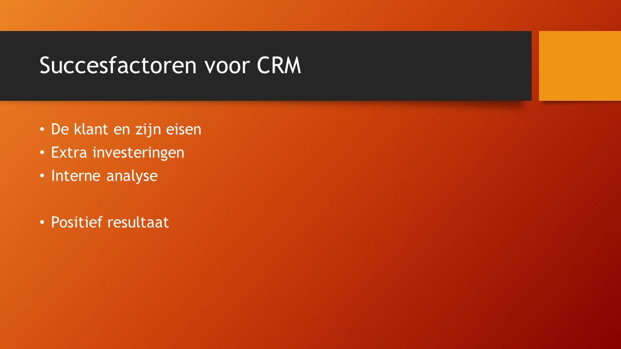 Succesfactoren voor CRM De klant en zijn eisen Extra investeringen Interne analyse Positief resultaat
