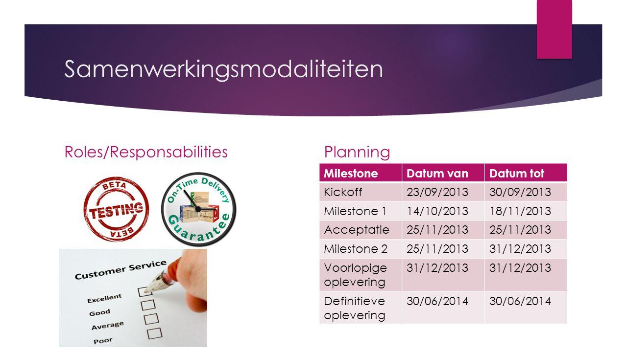 Samenwerkingsmodaliteiten Roles/ResponsabilitiesPlanning MilestoneDatum vanDatum tot Kickoff23/09/201330/09/2013 Milestone 114/10/201318/11/2013 Acceptatie25/11/2013 Milestone 225/11/201331/12/2013 Voorlopige oplevering 31/12/2013 Definitieve oplevering 30/06/2014