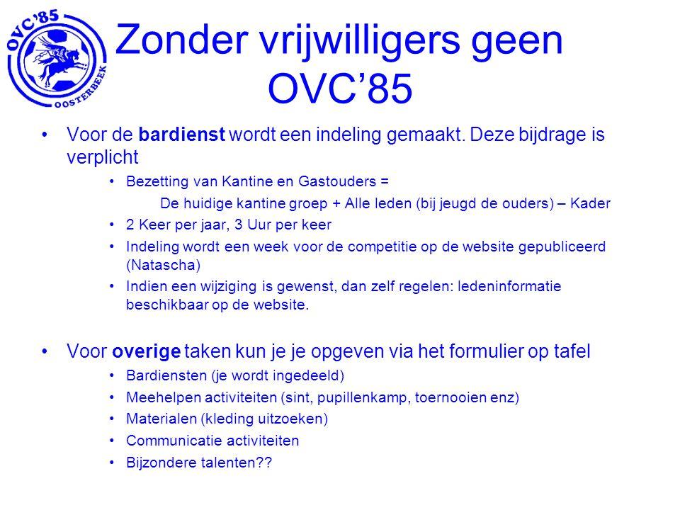 Zonder vrijwilligers geen OVC'85 Voor de bardienst wordt een indeling gemaakt.