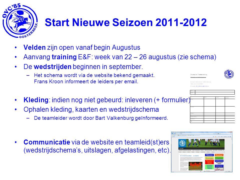 Start Nieuwe Seizoen 2011-2012 Velden zijn open vanaf begin Augustus Aanvang training E&F: week van 22 – 26 augustus (zie schema) De wedstrijden beginnen in september.