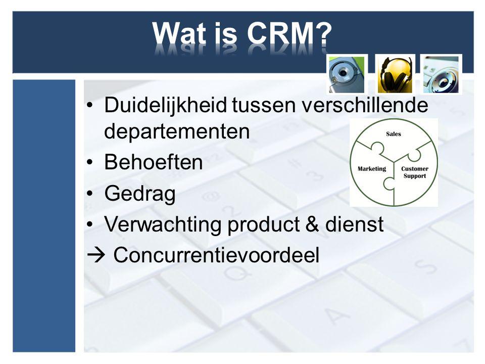 Duidelijkheid tussen verschillende departementen Behoeften Gedrag Verwachting product & dienst  Concurrentievoordeel