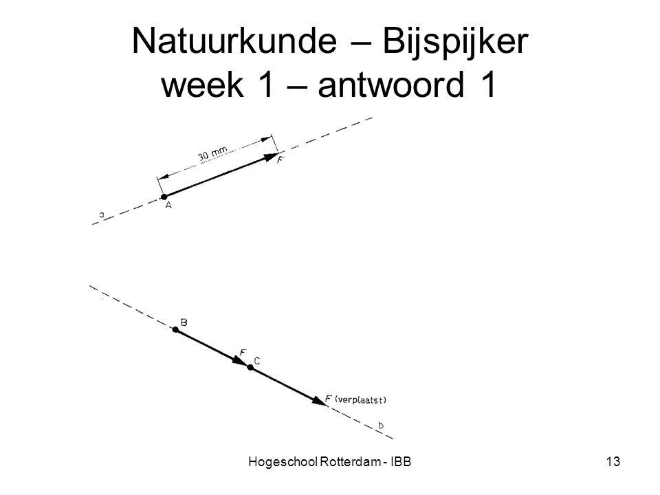 Hogeschool Rotterdam - IBB13 Natuurkunde – Bijspijker week 1 – antwoord 1