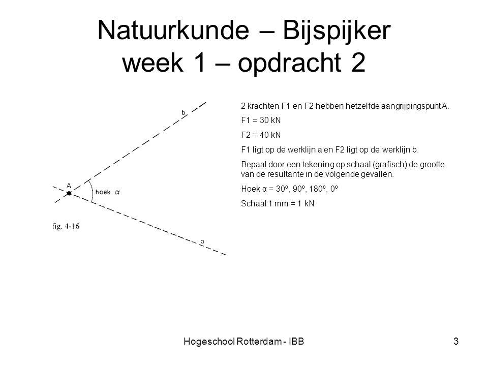Hogeschool Rotterdam - IBB3 Natuurkunde – Bijspijker week 1 – opdracht 2 2 krachten F1 en F2 hebben hetzelfde aangrijpingspunt A. F1 = 30 kN F2 = 40 k