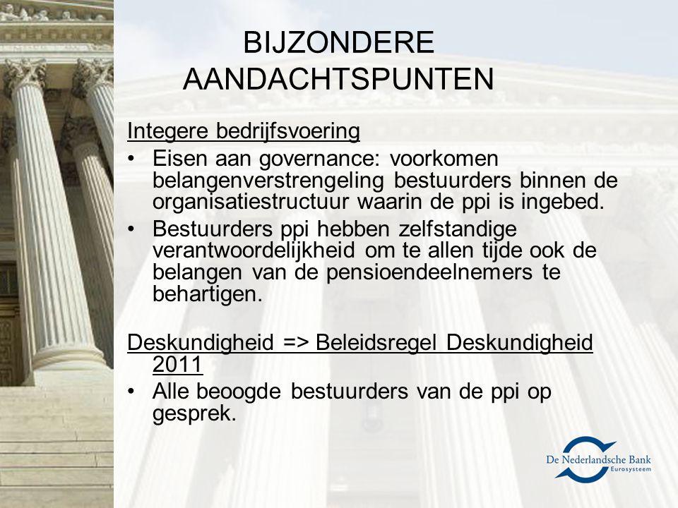 BIJZONDERE AANDACHTSPUNTEN Integere bedrijfsvoering Eisen aan governance: voorkomen belangenverstrengeling bestuurders binnen de organisatiestructuur