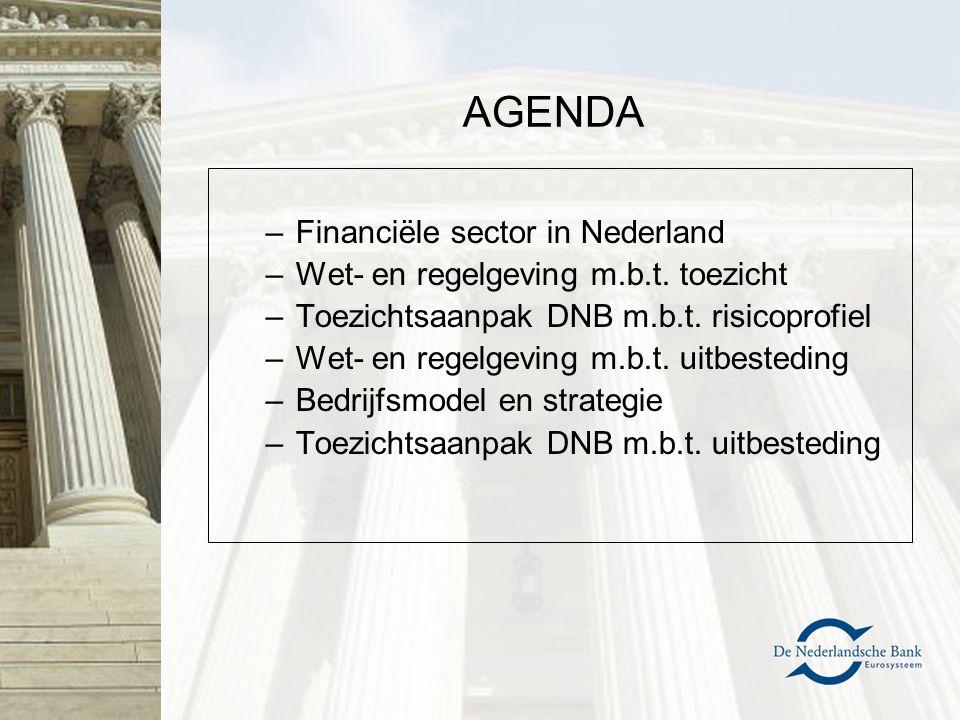 AGENDA –Financiële sector in Nederland –Wet- en regelgeving m.b.t. toezicht –Toezichtsaanpak DNB m.b.t. risicoprofiel –Wet- en regelgeving m.b.t. uitb