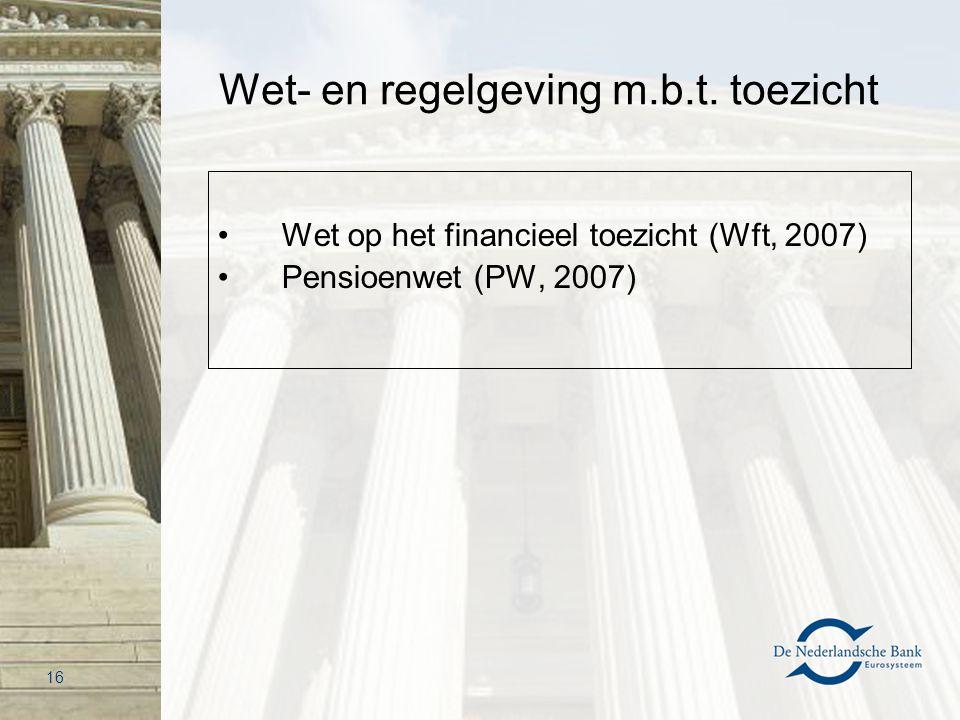 Wet- en regelgeving m.b.t. toezicht Wet op het financieel toezicht (Wft, 2007) Pensioenwet (PW, 2007) 16