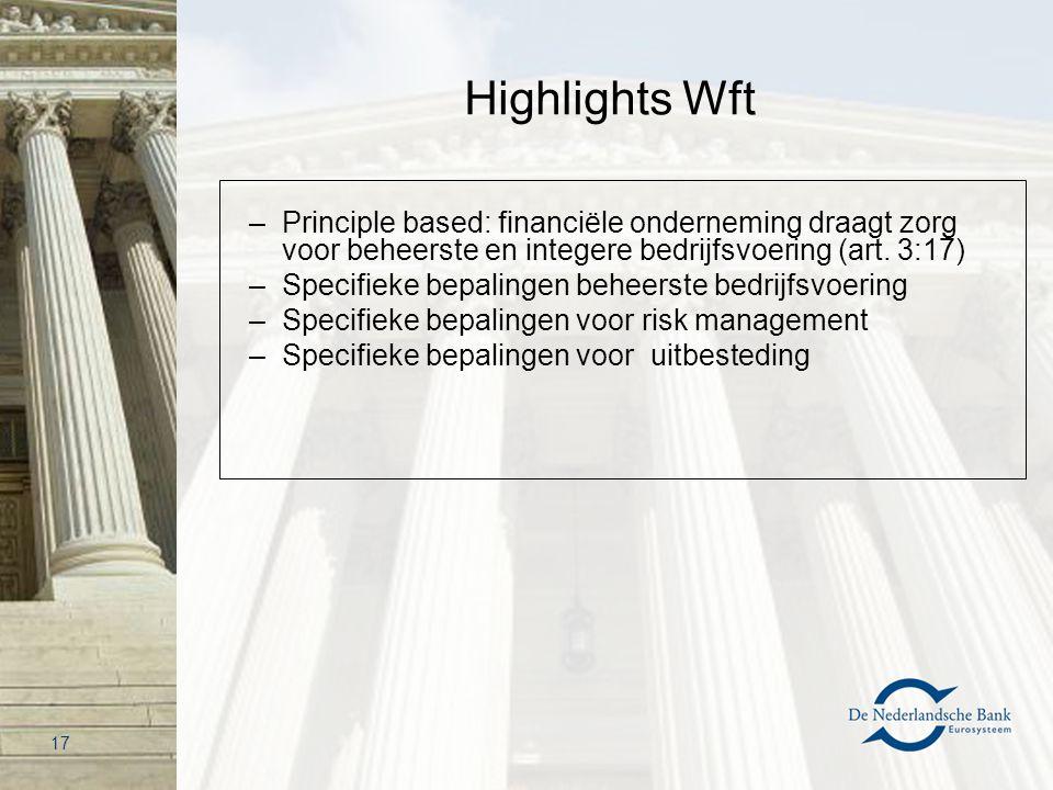 Highlights Wft –Principle based: financiële onderneming draagt zorg voor beheerste en integere bedrijfsvoering (art. 3:17) –Specifieke bepalingen behe