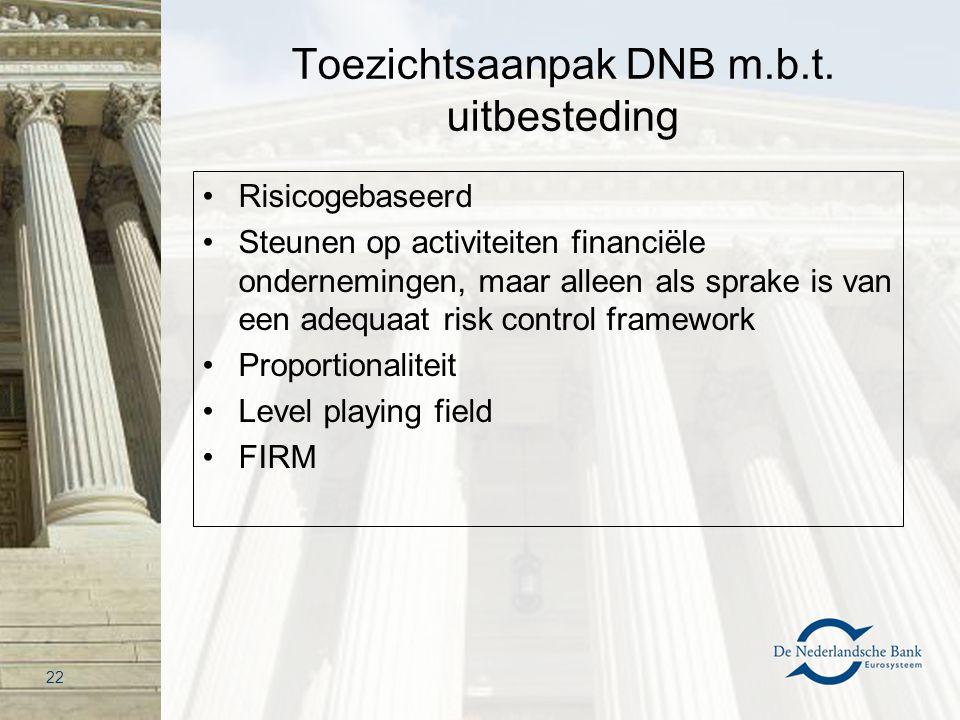 Toezichtsaanpak DNB m.b.t. uitbesteding Risicogebaseerd Steunen op activiteiten financiële ondernemingen, maar alleen als sprake is van een adequaat r