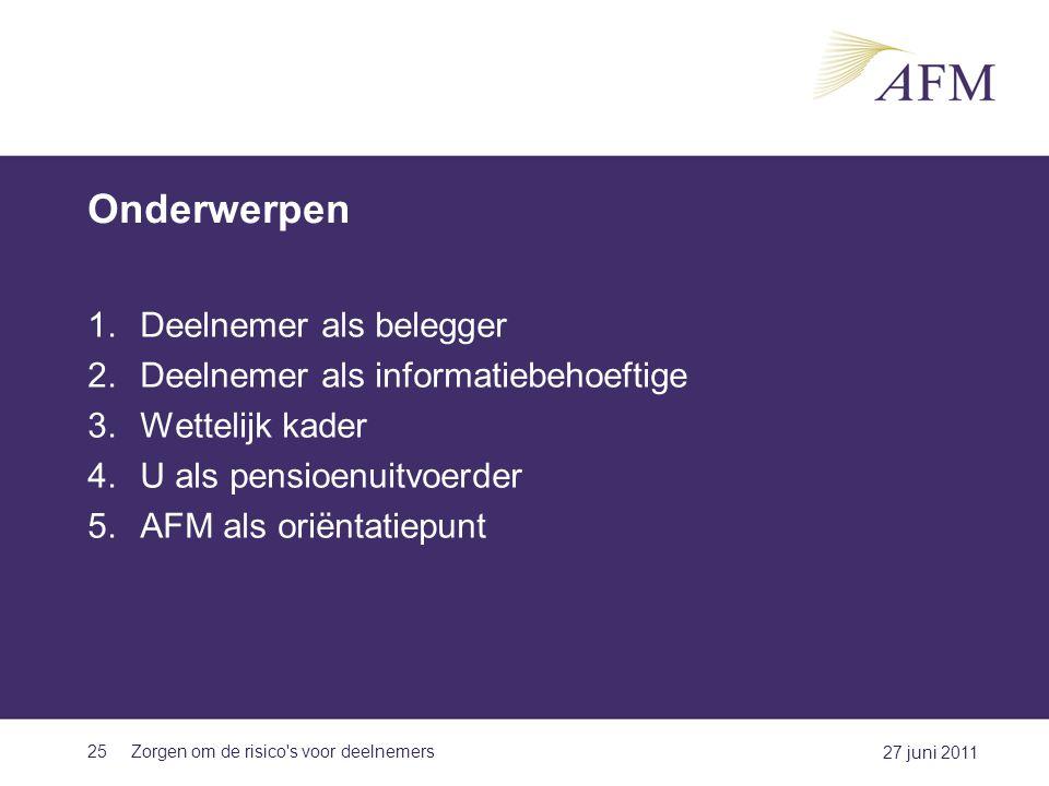 Onderwerpen 1.Deelnemer als belegger 2.Deelnemer als informatiebehoeftige 3.Wettelijk kader 4.U als pensioenuitvoerder 5.AFM als oriëntatiepunt 25 27