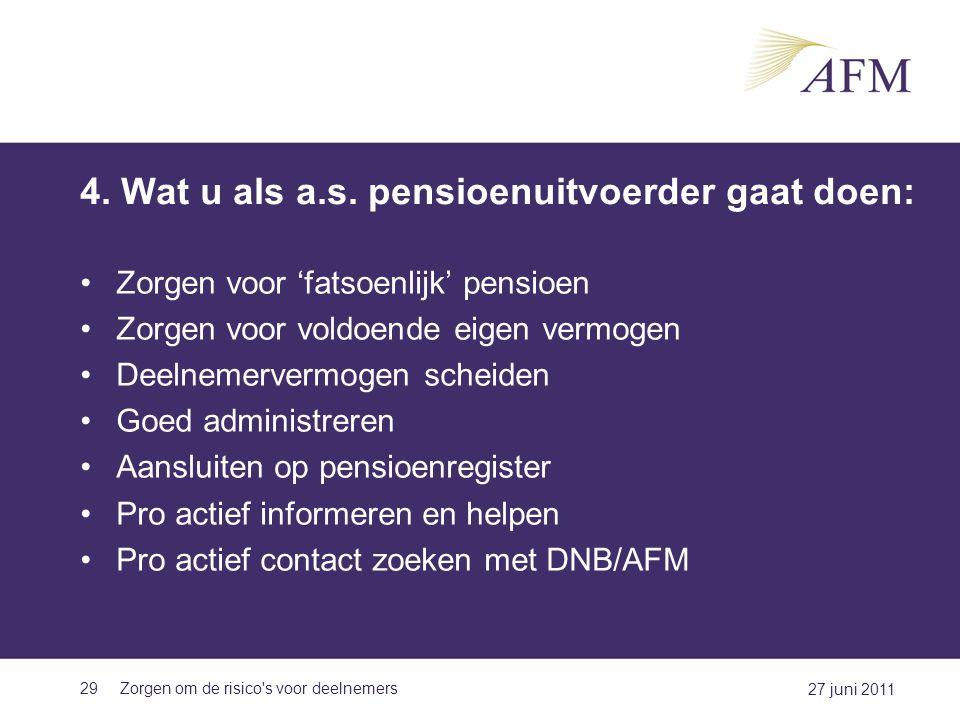 4. Wat u als a.s. pensioenuitvoerder gaat doen: Zorgen voor 'fatsoenlijk' pensioen Zorgen voor voldoende eigen vermogen Deelnemervermogen scheiden Goe