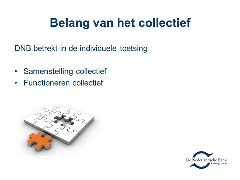 Belang van het collectief DNB betrekt in de individuele toetsing Samenstelling collectief Functioneren collectief