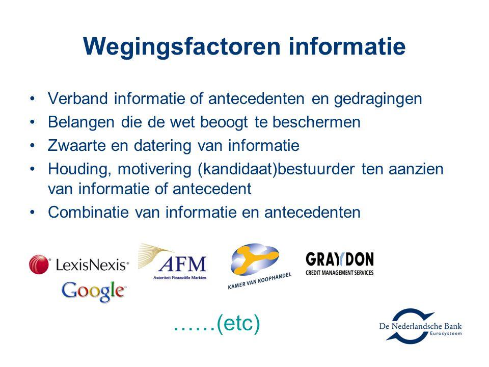 Wegingsfactoren informatie Verband informatie of antecedenten en gedragingen Belangen die de wet beoogt te beschermen Zwaarte en datering van informat