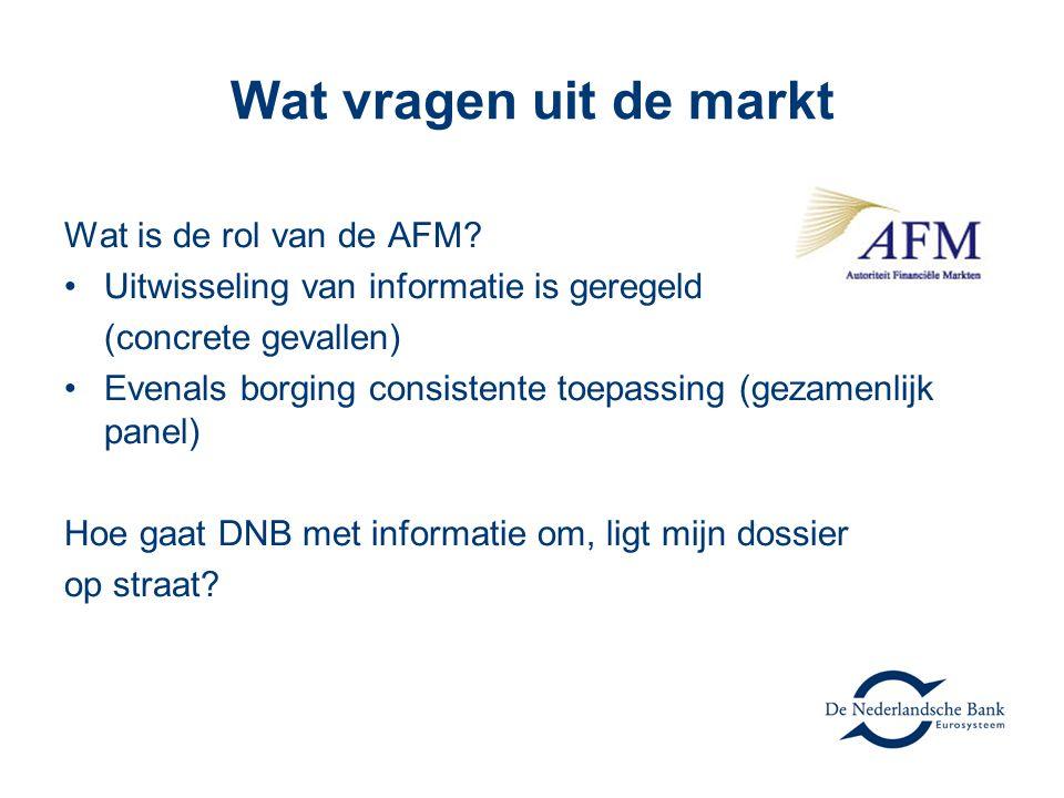 Wat vragen uit de markt Wat is de rol van de AFM? Uitwisseling van informatie is geregeld (concrete gevallen) Evenals borging consistente toepassing (