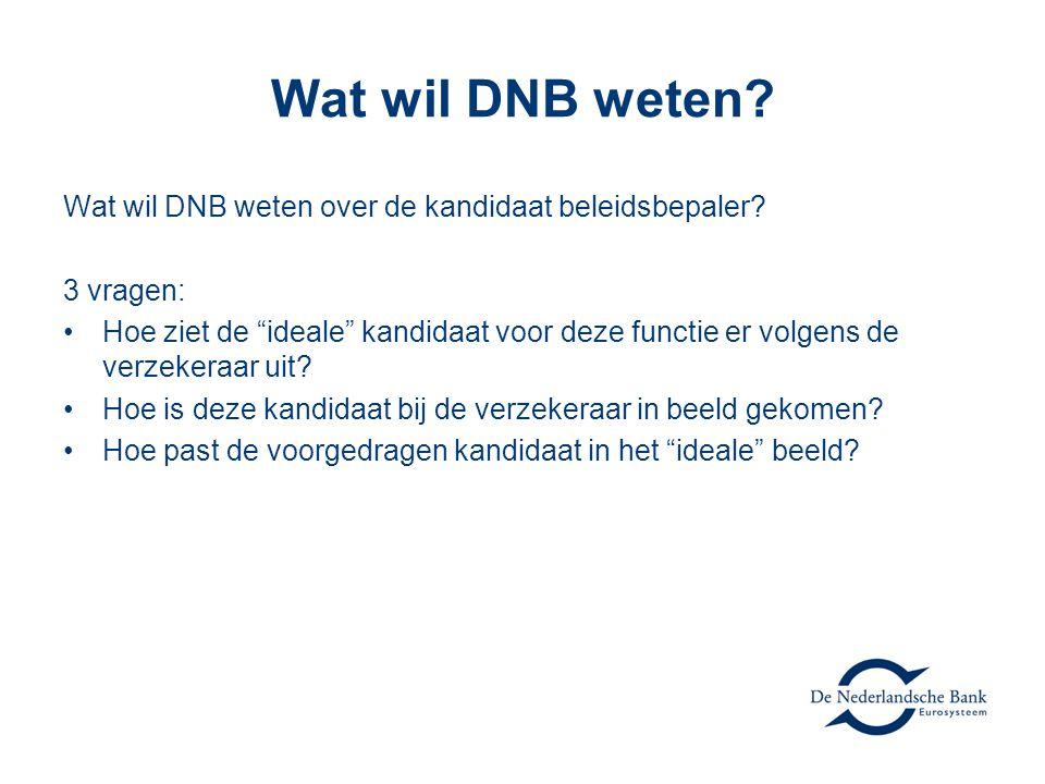 """Wat wil DNB weten? Wat wil DNB weten over de kandidaat beleidsbepaler? 3 vragen: Hoe ziet de """"ideale"""" kandidaat voor deze functie er volgens de verzek"""
