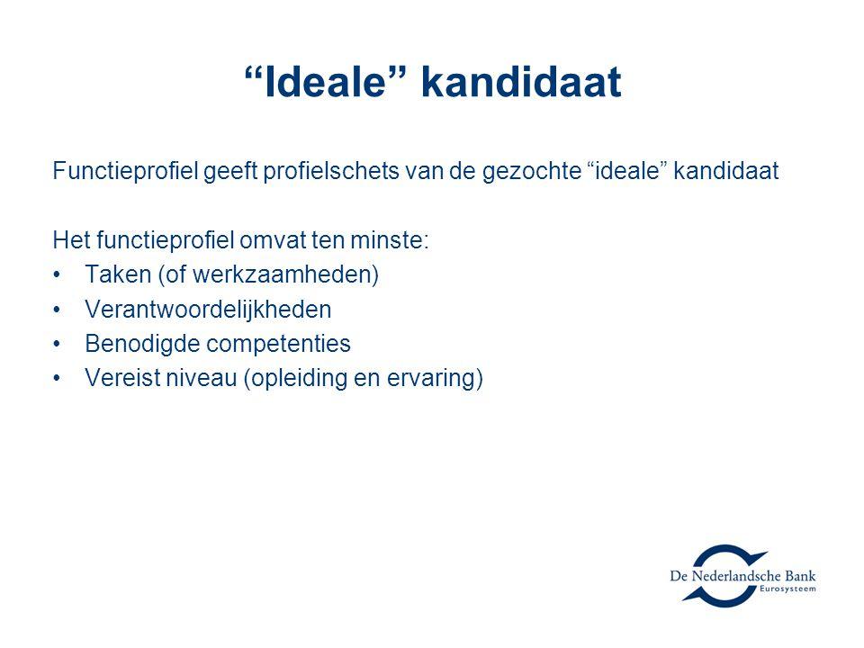 """""""Ideale"""" kandidaat Functieprofiel geeft profielschets van de gezochte """"ideale"""" kandidaat Het functieprofiel omvat ten minste: Taken (of werkzaamheden)"""
