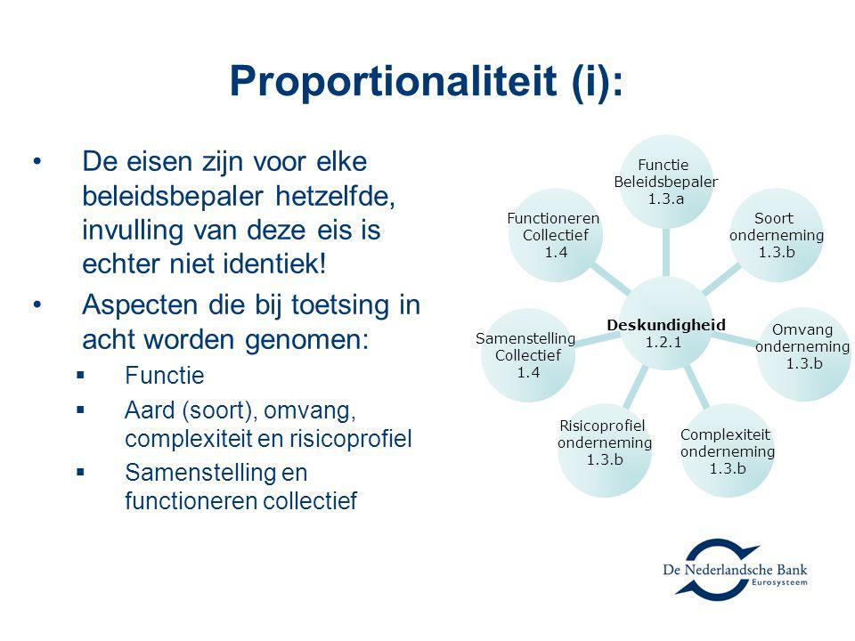 Proportionaliteit (i): De eisen zijn voor elke beleidsbepaler hetzelfde, invulling van deze eis is echter niet identiek! Aspecten die bij toetsing in