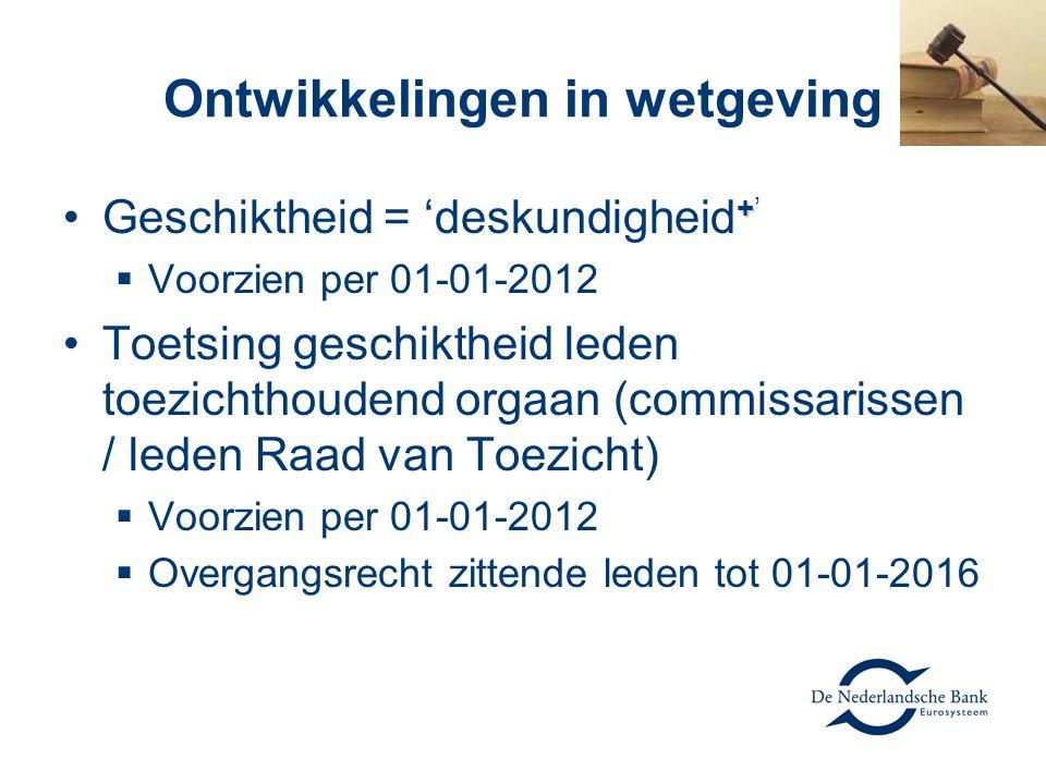 Ontwikkelingen in wetgeving +Geschiktheid = 'deskundigheid +'  Voorzien per 01-01-2012 Toetsing geschiktheid leden toezichthoudend orgaan (commissari