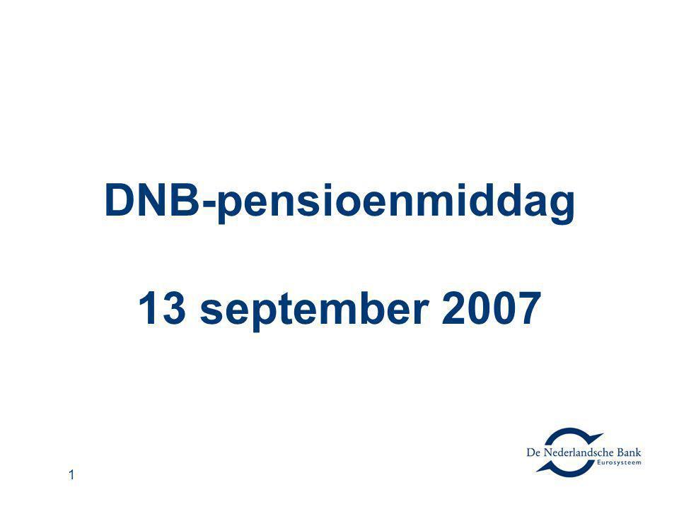 2 De bijdrage van pensioenbestuur aan stabiliteit Arnold Schilder Directeur De Nederlandsche Bank DNB pensioenmiddag 13 september 2007