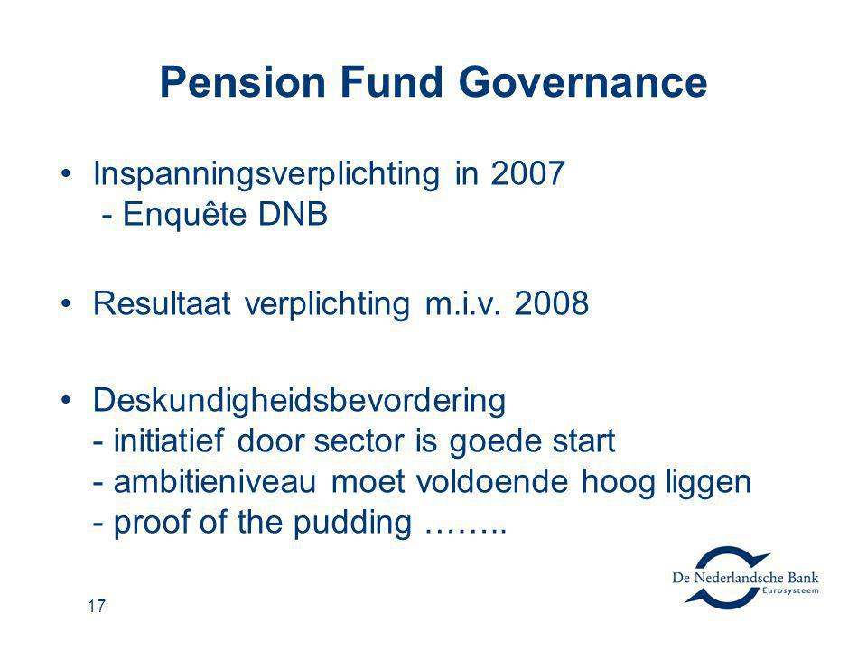 17 Pension Fund Governance Inspanningsverplichting in 2007 - Enquête DNB Resultaat verplichting m.i.v.