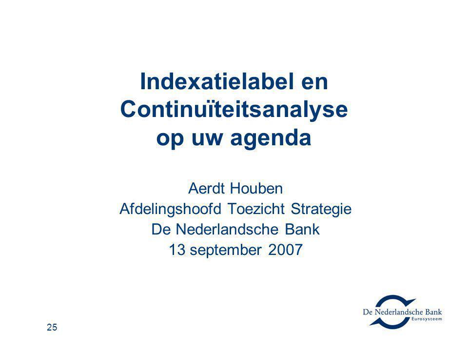 26 Agenda Belang van indexatie Indexatielabel Continuïteitsanalyse