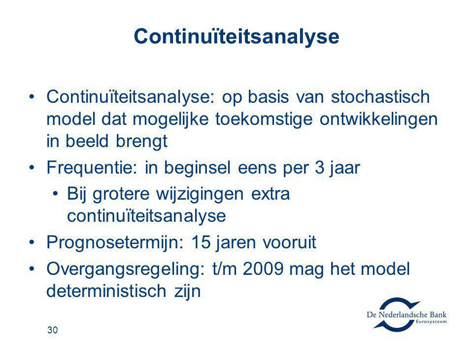 31 Beleidsregel continuïteitsanalyse Geen wettelijke vormvoorschriften (anders dan stochastisch, 15 jaar vooruit) Wel een DNB-Beleidsregel continuïteitsanalyse: als hulpmiddel, niet verplichtend met de uitgangspunten en voorbeelden van de door DNB gewenste output De output moet vooral ook voor u nuttig zijn