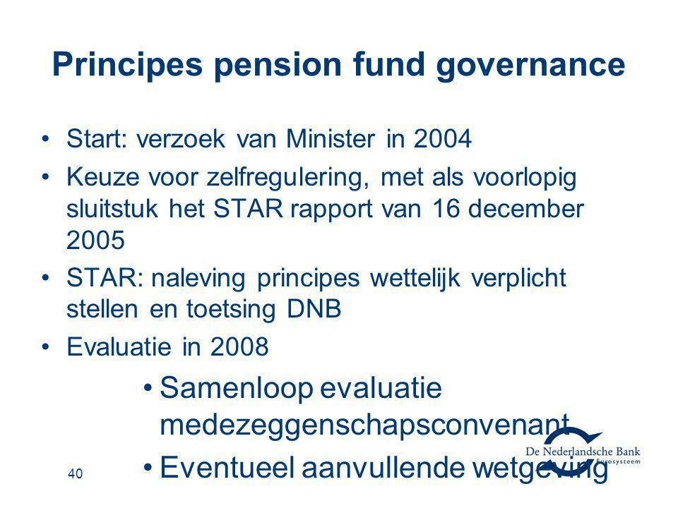 41 STAR rapport: Principes voor goed pensioenfondsbestuur Pensioenfondsen Verantwoordelijkheid bestuur Verantwoording Intern toezicht Rechtstreeks verzekerde regelingen Verantwoording (werkgever) Intern toezicht (bij de verzekeraar) ► In werking 1-1-2006, implementatie uiterlijk 1-1-2008