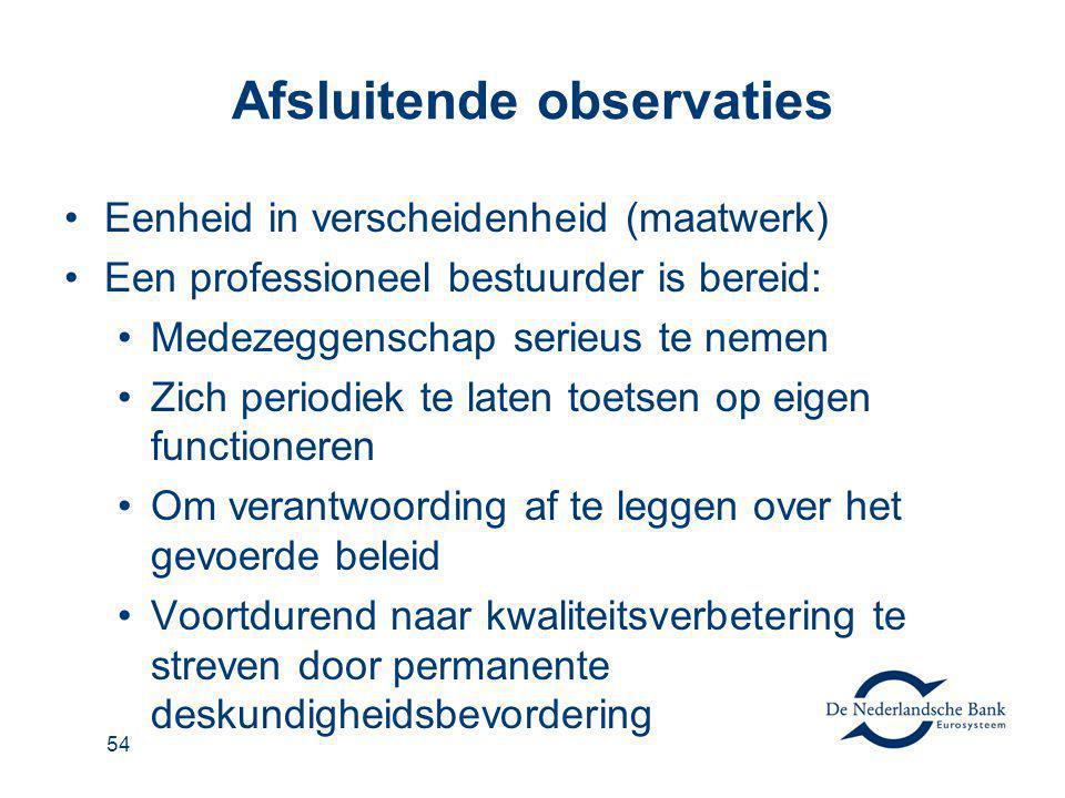 55 Afsluitende observaties Stimuleer kandidaten voor VO en DR Kijk voor intern toezicht ook buiten de eigen vertrouwde kring Voorkom bureaucratie: 'Substance over form'