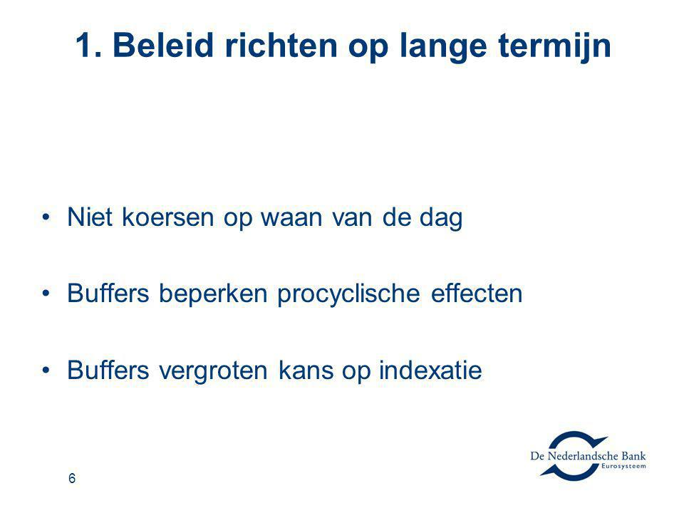 6 1. Beleid richten op lange termijn Niet koersen op waan van de dag Buffers beperken procyclische effecten Buffers vergroten kans op indexatie