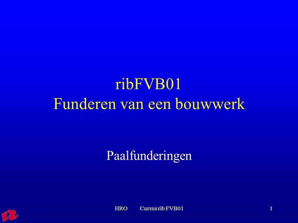 HRO Cursus rib FVB0122 Voorbeelden van paaltypen Geheid en grondverdringend: Houten palen Prefab betonnen palen met vierkante doorsnede Vibropalen