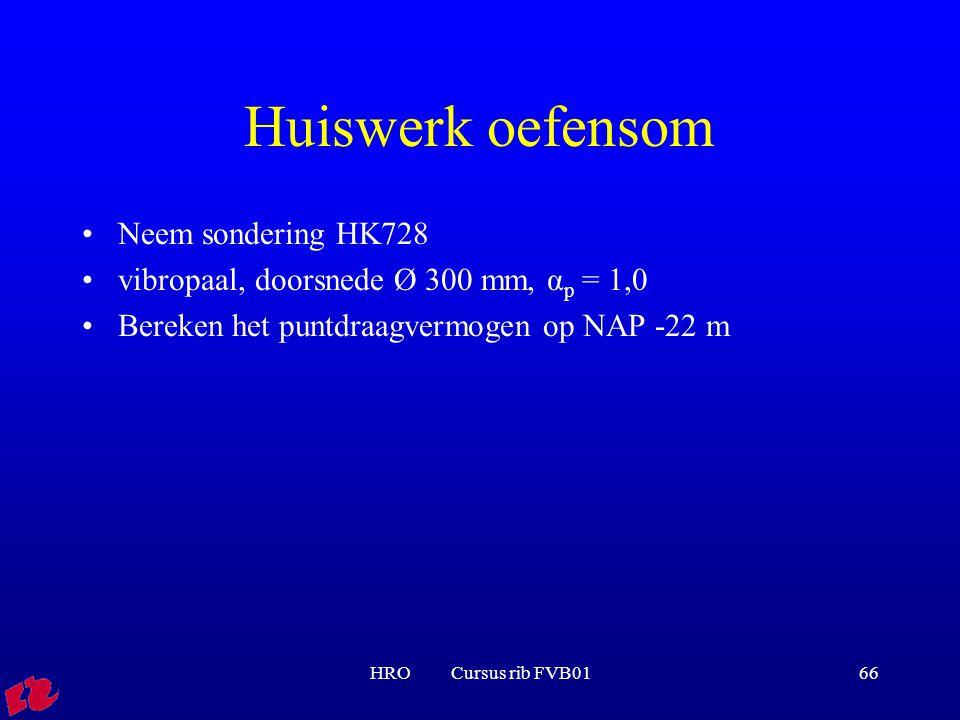 HRO Cursus rib FVB0166 Huiswerk oefensom Neem sondering HK728 vibropaal, doorsnede Ø 300 mm, α p = 1,0 Bereken het puntdraagvermogen op NAP -22 m