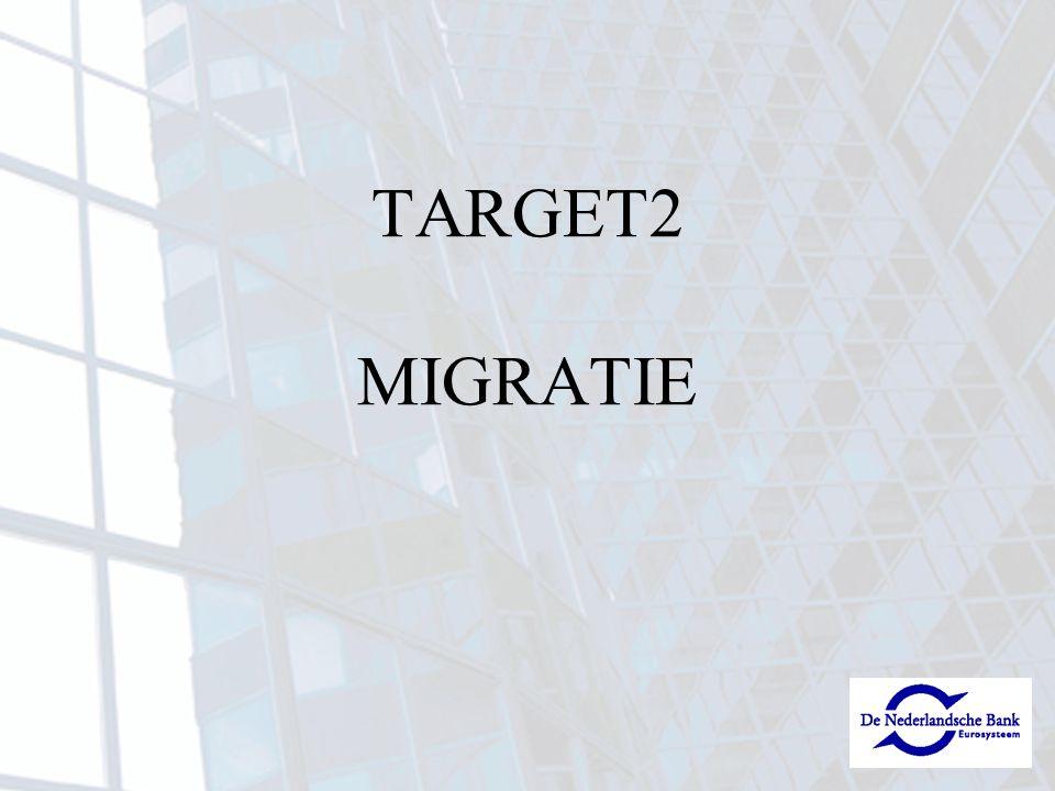 NL 08/10/07 - 07/12/07SSP registratieformulieren PROD vrijgegeven 09/11/07juridische documenten gereed en verzonden 05/11/07 - 07/12/07e-ordering SWIFT voor TARGET2 vrijgegeven 19/06/07 - 01/02/08testen 19/11/07groep 1 gemigreerd 31/12/07> 90% van alle documentatie correct retour Wat tot nog toe gerealiseerd