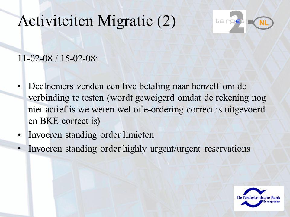 Activiteiten Migratie (2) 11-02-08 / 15-02-08: Deelnemers zenden een live betaling naar henzelf om de verbinding te testen (wordt geweigerd omdat de rekening nog niet actief is we weten wel of e-ordering correct is uitgevoerd en BKE correct is) Invoeren standing order limieten Invoeren standing order highly urgent/urgent reservations NL