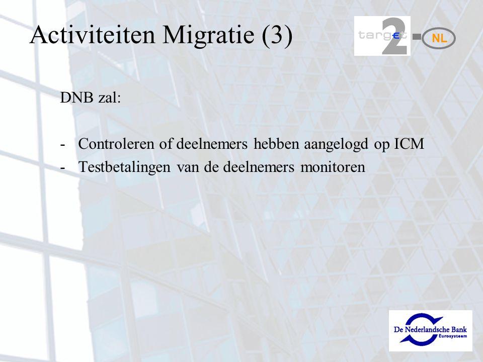 Activiteiten Migratie (3) DNB zal: -Controleren of deelnemers hebben aangelogd op ICM -Testbetalingen van de deelnemers monitoren NL