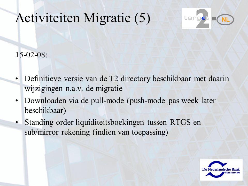 Activiteiten Migratie (5) 15-02-08: Definitieve versie van de T2 directory beschikbaar met daarin wijzigingen n.a.v.