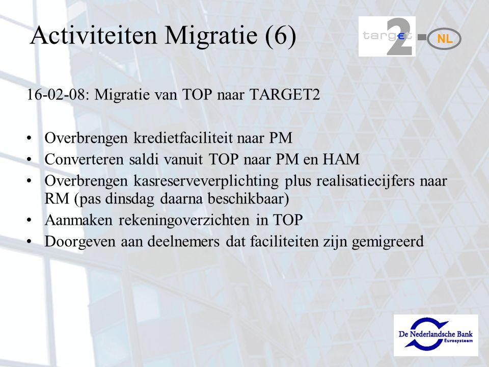 Activiteiten Migratie (6) 16-02-08: Migratie van TOP naar TARGET2 Overbrengen kredietfaciliteit naar PM Converteren saldi vanuit TOP naar PM en HAM Overbrengen kasreserveverplichting plus realisatiecijfers naar RM (pas dinsdag daarna beschikbaar) Aanmaken rekeningoverzichten in TOP Doorgeven aan deelnemers dat faciliteiten zijn gemigreerd NL